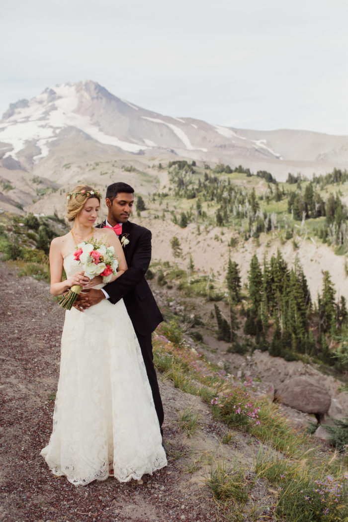 Modern couple portraits with Mount Hood by Timberline Lodge wedding